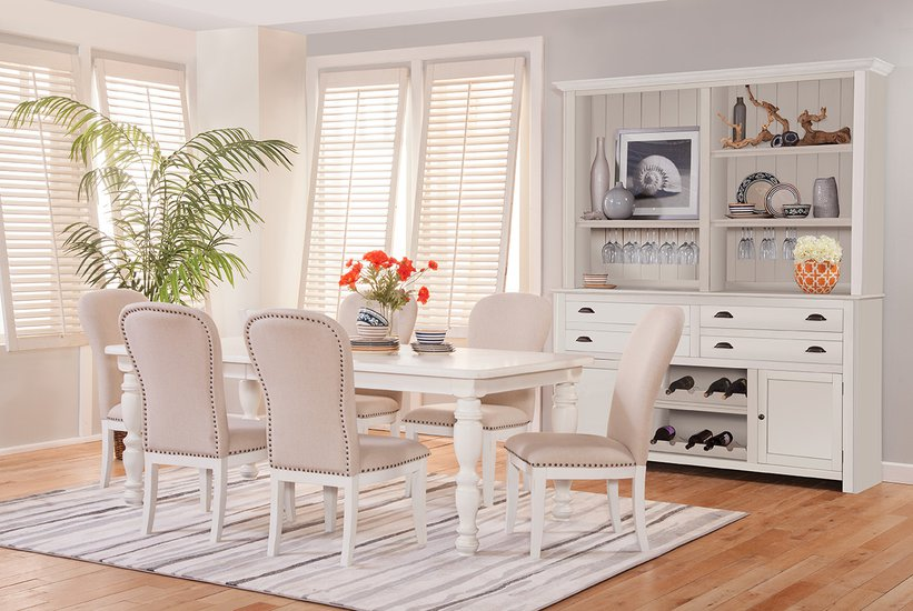 South Mountain Farmhouse White Upholstery Dining Room